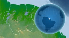 Suriname and Globe. Bumps shaded Stock Footage