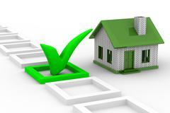 House choice on white background. Isolated 3D image Stock Illustration
