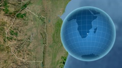 Swaziland and Globe. Satellite Stock Footage