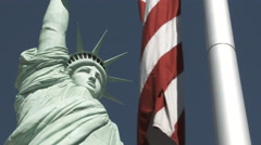 Statue Of Liberty and American Flag - stock footage