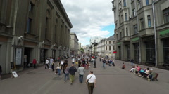 Tourists on the old Arbat street in Moscow, Russia Stock Footage