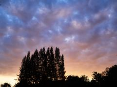 Dramatic sunrise silouette cloudscape - stock photo