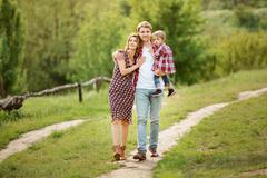 Summer Family Stroll - stock photo