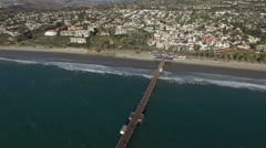 Aerial reveal of the San Clemente State Beach Pier Stock Footage