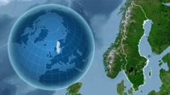 Sweden and Globe. Satellite Stock Footage