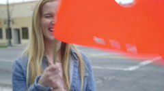 Teens Play With Crosswalk Flags, They Wave Them Around, Dance And Pose For Fun Arkistovideo