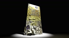 Euro currency collapse animation EU european money 4k Stock Footage