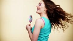 Woman joyful girl teeth smile with lollipop candy 4K Stock Footage