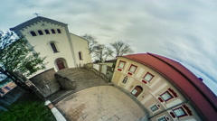 People Walking up the Stairs to Church Video 360 vr Panoramic View of Place at Stock Footage