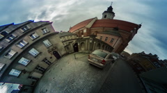 Old City Paving Stones Car vr Video 360 Little Planet Video Cars Are Parked at - stock footage