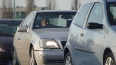 Cars Stuck In Traffic Close Up Stock Footage