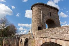 Monnow bridge Monmouth Wales uk historic tourist attraction Wye Valley - stock photo