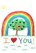 Child's Crayon Drawing of Rainbow and Happy Tree with Hearts - stock illustration