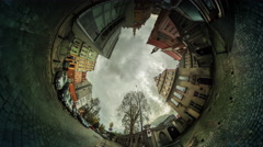 People Walk Rarked Cars City Street Houses 360 vr Panoramic View of Square - stock footage