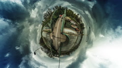 People and Cars Driven by a Bridge vr Video 360 Little Planet Video Peope Are Stock Footage