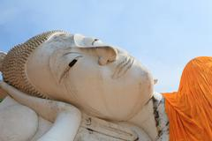 Face of sleeping buddha statue in wat khun-inthapramoon temple Angthong Provi Stock Photos