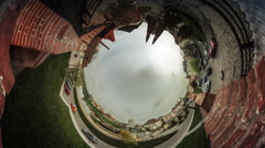 People Cars Two Towers of a Cathedral Video 360 vr Panorama of Square Opole Stock Footage