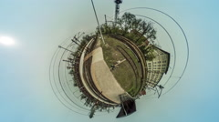 Man at Station Trains Arrive Leave Video 360 vr Panoramic View of Railway Stock Footage