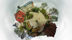 Walkers Crowd People on Paving Stones Video 360 vr Panoramic View of Square Stock Footage