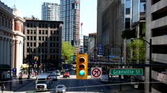 Static shot of traffic lights on granville street in the downtown Vancouver - stock footage