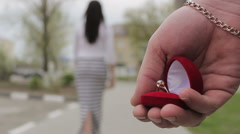 Romantic marriage proposal - stock footage