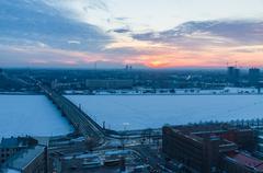 Winter-time sunset over Daugava river, Riga Kuvituskuvat