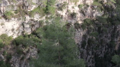 Panoramic view from the top of the canyon and mountain river Stock Footage
