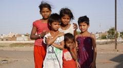 Poor indian kids  - stock footage