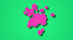 abstract paint splatter style blobs cartoon motion background pink green grudge - stock footage