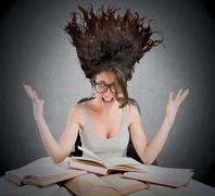 Stressful study books - stock photo