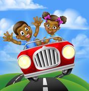Cartoon Kids Driving Car Stock Illustration