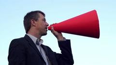 Man With Bullhorn Sideview - stock footage