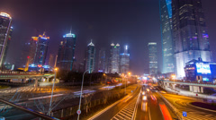 Downtown Shanghai street level time lapse Stock Footage