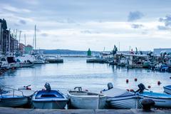Harbor in Slovenia with many boats Stock Photos