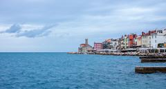 view on Slovenian town Piran and sea - stock photo