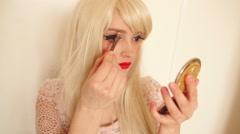 Makeup, applying eyebrow pencil - stock footage