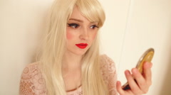 Makeup, applying eyebrow pencil Stock Footage