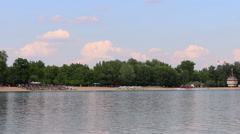 View of the lake and clouds in a distance Stock Footage