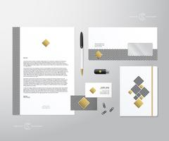 Creative Geometry and Gold Realistic Vector Stationary Set wih Soft Shadows Stock Illustration