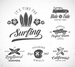 Vector Retro Style Surfing Labels, Logo Templates or T-shirt Graphic Design Stock Illustration