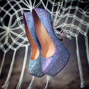 Bridal wedding shoes with diamante on the white grid - stock photo