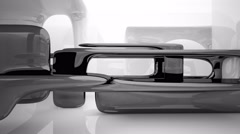 Abstract interior with glossy black and white sculpture. 3D Animation. 3D render Stock Footage