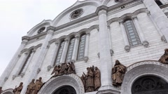 Cathedral of Christ the Saviour outdoor facade details, windows, sculptures Stock Footage