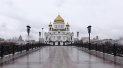 Christ the Saviou temple POV approach, move along Patriarshy Bridge Stock Footage
