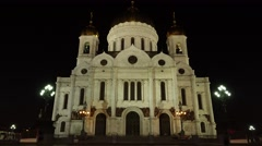 Christ the Saviou temple at night, panning shot from ground level. - stock footage