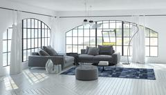 3D living room interior of airy living room - stock illustration