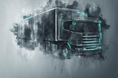 Painted tractor trailer truck in gray Piirros