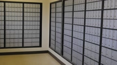 Pan inside Post Office Mail Boxes Stock Footage