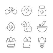 Line icons Set of Alternative Medicine Icons Stock Illustration