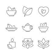 Line icons Set of Alternative Medicine, herb Icons Stock Illustration
